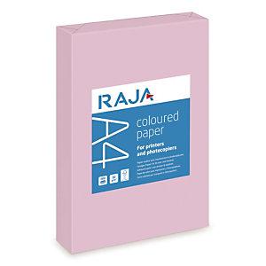 RAJA Coloured Paper Papel de Colores para Faxes, Fotocopiadoras, Impresoras Láser e Impresoras de Inyección de Tinta Rosa A4 80 g/m²