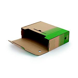 RAJA Contenitore archivio cartone 100% riciclato e riciclabile onda piccola, Dorso 10 cm, Avana/Verde (confezione 25 pezzi)