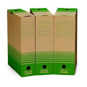 RAJA Contenitore archivio cartone 100% riciclato e riciclabile onda piccola, Dorso 8 cm, Avana/Verde (confezione 25 pezzi)