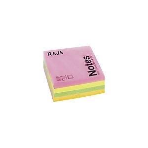 RAJA Cubo de notas autoadhesivas, 76 x 76 mm, 70 gramos, colores neón variados