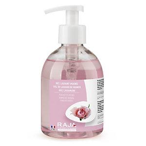 RAJA Detergente gel lavamani, Profumazione Rose, Flacone con erogatore 300 ml