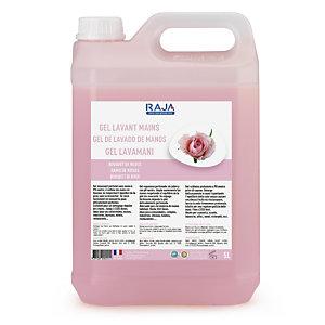 RAJA Detergente gel lavamani, Profumazione Rose, Tanica 5 l