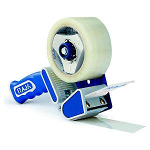 RAJA Dévidoir manuel de sécurité pour rouleau de ruban adhésif jusqu'à 50 mm de large avec poignée pistolet - Bleu