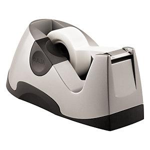 RAJA Dispensador de cinta adhesiva ejecutivo, base antideslizante con peso, centro de 25 mm, plata y negro