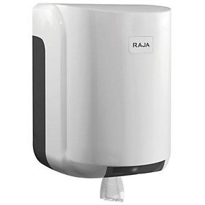 RAJA Dispensador de rollos de papel grandes con salida central de plástico ABS blanco con bloqueo de 310 x 220 x 220 mm