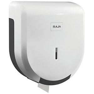 RAJA Dispensador de rollos de papel higiénico mini jumbo de plástico ABS blanco de 275 x 245 x 120 mm