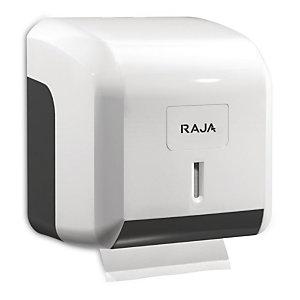 RAJA Dispensador de rollos de papel higiénico de plástico ABS blanco con bloqueo de 145 x 137 x 122 mm