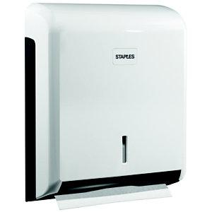RAJA Dispenser per rotoli di carta igienica Maxi Jumbo, ABS, 28,5 x 12 x 32 cm, Bianco