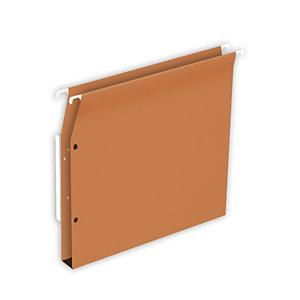 RAJA Dossier suspendu pour Armoires Fond U 15 mm en Kraft 230g à bouton-pression - Coloris orange