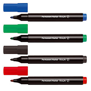 RAJA DuraMark Marcador permanente, punta ojival, 1,5-3 mm, azul, rojo, negro, verde