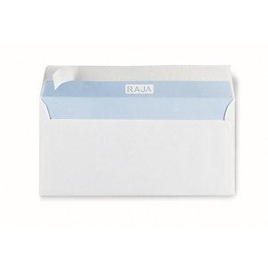 RAJA Enveloppe blanche DL 110 x 220 mm 80g sans fenêtre - autocollante