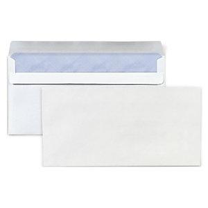 RAJA Enveloppe blanche DL 110 x 220 mm 80g sans fenêtre  -fermeture autocollante