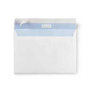 RAJA Enveloppe blanche Premium C5 162 x 229 mm 90g sans fenêtre - bande autoadhésive