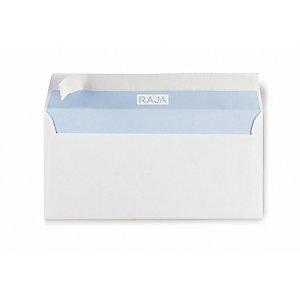 RAJA Enveloppe blanche Premium DL 110 x 220 mm 90g avec fenêtre 35 x 100mm- bande autoadhésive