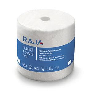 RAJA Essuie-mains en papier double épaisseur - 500 feuilles prédécoupées gauffrées - Bobine maxi de 156m