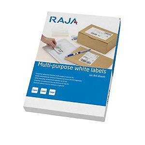 RAJA Etichette multiuso, 192 x 61 mm, 4 etichette per foglio, Angoli arrotondati, Bianco (confezione 25 fogli)
