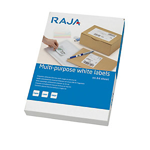 RAJA Etichette multiuso, 210 x 148 mm, 2 etichette per foglio, Bianco (confezione 25 fogli)