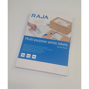 RAJA Etiquetas multiuso, autoadhesivas permanentes, angulares, 105 x 42,4 mm, blanco