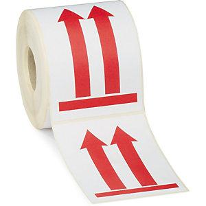 RAJA Etiquetas para señalización de envíos, Flecha roja, 90 x 130 mm, Rollo 500 unid