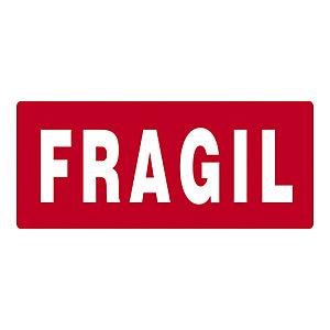 RAJA Etiquetas para señalización de envíos, FRAGIL, 70 x 30 mm, Rollo 500 unid