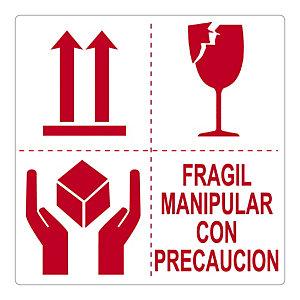 RAJA Etiquetas para señalización de envíos, FRAGIL MANIPULAR CON PRECAUCIÓN, 100 x 100 mm, Rollo 500 unid