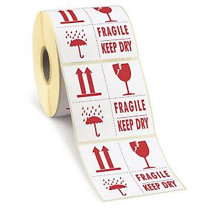 RAJA Etiquetas para señalización de envíos, FRAGILE / KEEP DRY, 100 x 100 mm, Rollo 500 unid