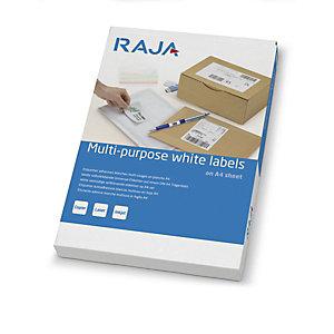 RAJA Étiquettes multi-usages adhésion permanente - Coins arrondis - 65,3x38,1 mm - Blanc