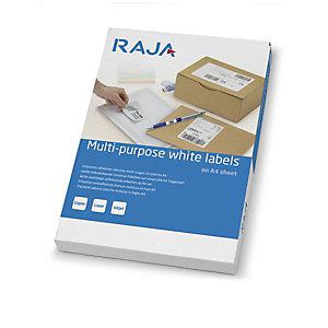 RAJA Étiquettes multi-usages adhésion permanente - Coins droits vifs - 105x70 mm - Blanc