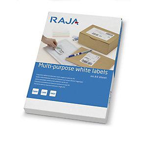 RAJA Étiquettes multi-usages adhésion permanente - Coins pointus - 105x99 mm - Blanc