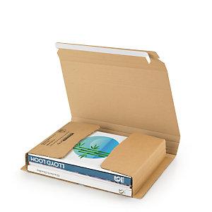 RAJA Étui emballage postal carton brun avec fermeture adhésive - 33 x 25 cm - Livre, tablette, cadre