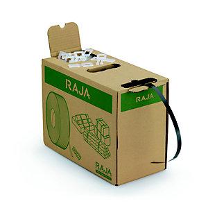 RAJA Feuillard de cerclage en Polypropylène recyclé  bobine L.600 m Noir - En boîte distributrice avec 200 boucles plastique