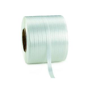 RAJA Feuillard de cerclage en Textile fil à fil Blanc - Bobine  L.200 m - En boîte distributrice + 1 tendeur-coupeur + 80 boucles acier galvanisé