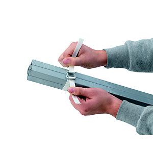 RAJA Feuillard de cerclage en Textile fil à fil Blanc - Bobine  L.250 m - En boîte distributrice + 1 tendeur-coupeur + 80 boucles acier galvanisé