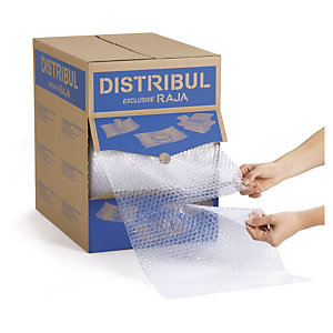 RAJA Film plástico de burbujas, 32 cm x 50 m (ancho x largo) precortado, en caja distribuidora