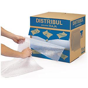RAJA Film plástico de burbujas, 50 cm x 50 m (ancho x largo) precortado, en caja distribuidora