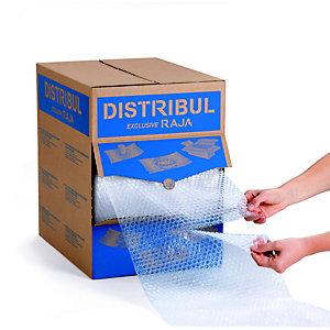 RAJA Film de protection à bulles d'air 10 mm - Boîte distributrice avec rouleau l. 32 cm x L. 50 m - 155 feuilles - Transparent