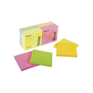 RAJA Foglietti adesivi, Blocchi 76 x 76 mm, 70 g/m², Colori neon assortiti (confezione 12 pezzi)