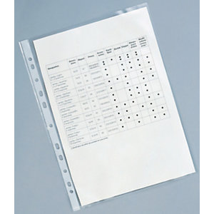 RAJA Funda perforada, A4, polipropileno de 120 micras, 11 orificios, rugoso, transparente