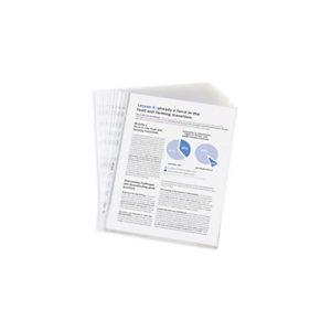 RAJA Funda perforada, Folio, polipropileno de 50 micras, 11 orificios, rugosa, transparente con bandas blancas