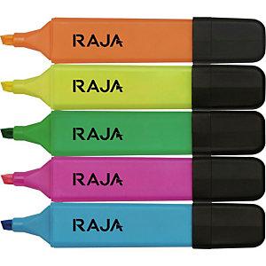 RAJA Hype! Marcador fluorescente, punta biselada, 1 mm-5 mm, Amarillo, Rosa, Verde, Naranja y Azul