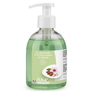 RAJA Jabón de manos en crema nutritivo con aroma a almendra, 300 ml, botella con dosificador