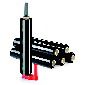 RAJA Kit de 6 bobines de film emballage étirable cast 17 microns 45 cm x 300 m + 1 dérouleur manuel OFFERT - Noir