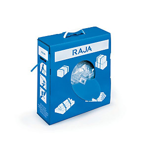 RAJA Kit Reggia in polipropilene blu 12 x 0,5 mm x 750 m in scatola dispenser + 250 fibbie in plastica