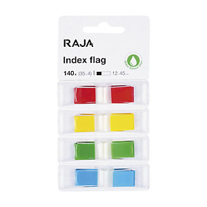 RAJA Marque-pages 4 x 35 index de 12 x 45 mm - 4 couleurs assorties