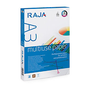 RAJA Multiuse Carta multiuso A3 per Fotocopiatrici, Stampanti Laser e Inkjet, 80 g/m², Bianco