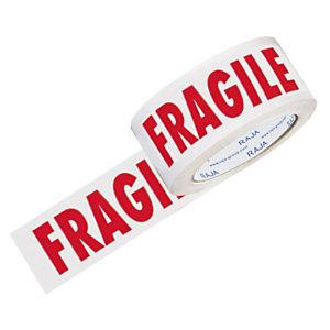 RAJA Nastro adesivo silenzioso con stampa FRAGILE, PPL 28 micron, 50 mm x 66 m, Bianco con stampa rossa (confezione 6 pezzi)