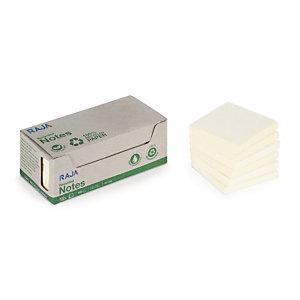 RAJA Notes repositionnables 100% recyclées carrées 76 x 76 mm -  jaune pastel Bloc de 100 feuilles