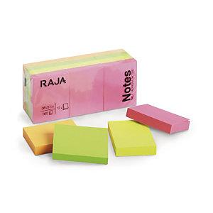 RAJA Notes repositionnables 38 x 51 mm - Coloris assortis Néon - Bloc de 100 feuilles