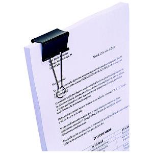 RAJA Pince double clip noire 41 mm capacité 100 feuilles - Boîte de 12