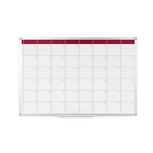 RAJA Planning mensual de pared, Superficie magnética, Acero lacado, Aluminio, Cuadrícula, 90 x 60 cm